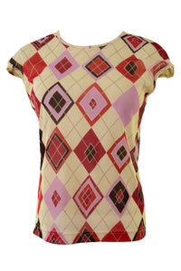 Frame women's top, cream and red diamond pattern