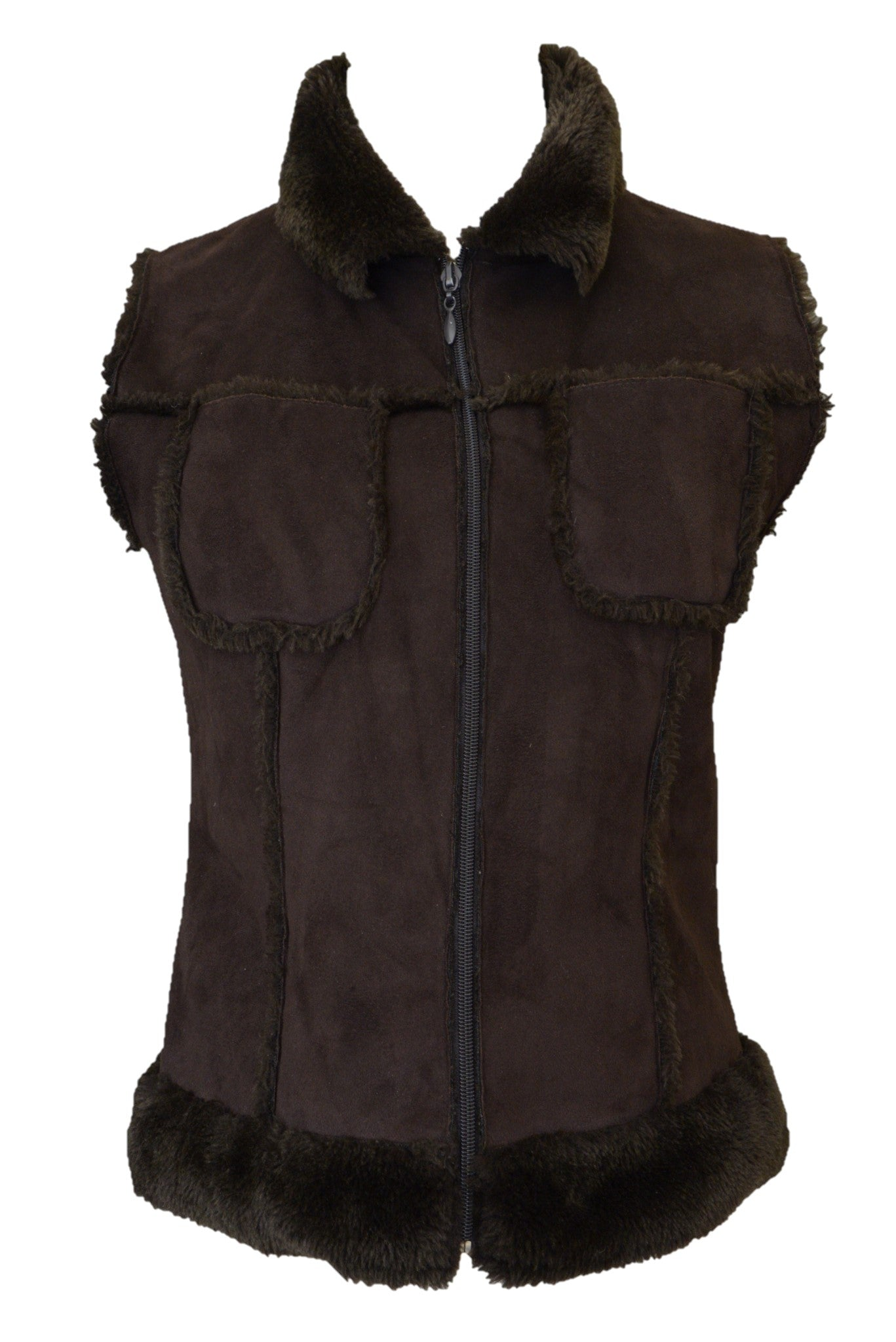 Pash women's brown faux sheepskin vest with zip