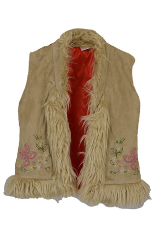 Aurora girl's preloved vest with faux fur trim and butterfly stitching