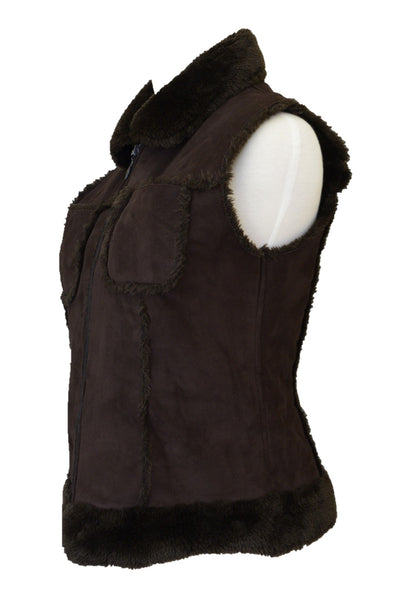 Pash women's brown faux sheepskin vest, side view