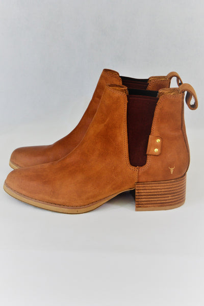Windsor Smith women's tan leather ankle boots, side view