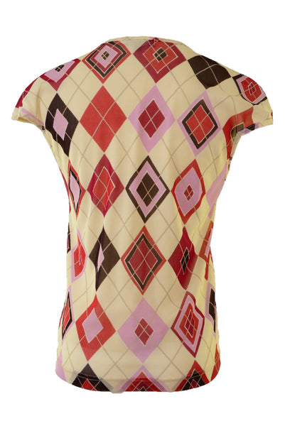 Frame women's top, cream and red diamond pattern, back view