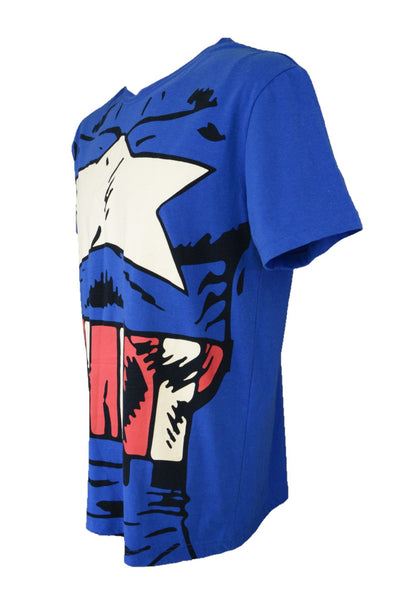 Captain America t-shirt, blue, red, white, side view