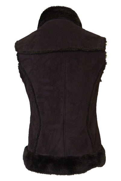 Pash women's brown faux fur vest, back view