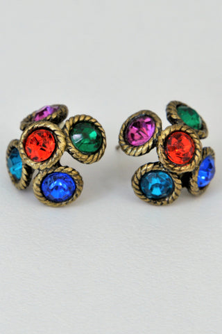 Retro costume earrings, multi coloured glass stones