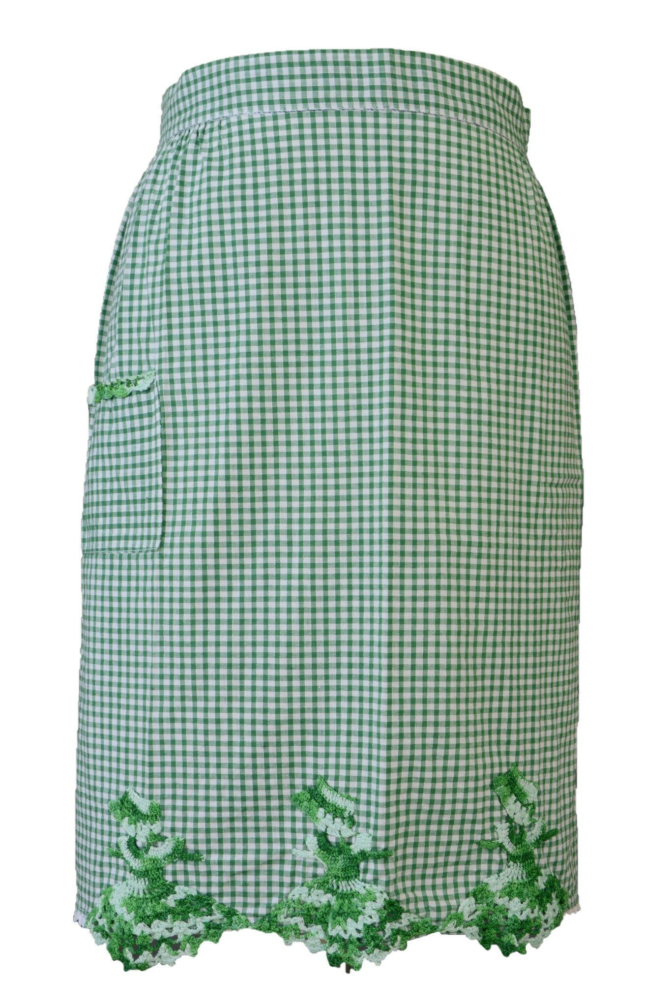 Vintage apron, green and white gingham