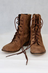 Akira brown ankle or mid calf lace-up boots
