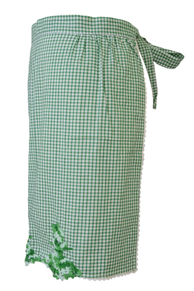 Vintage apron, green and white, side view