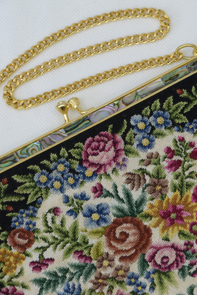 Preloved tapestry handbag, showing gold clasp, chain and mother-of-pearl inlay