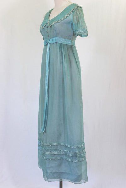 Pale Blue Jeanne de Campo Lined Vintage Gown - side