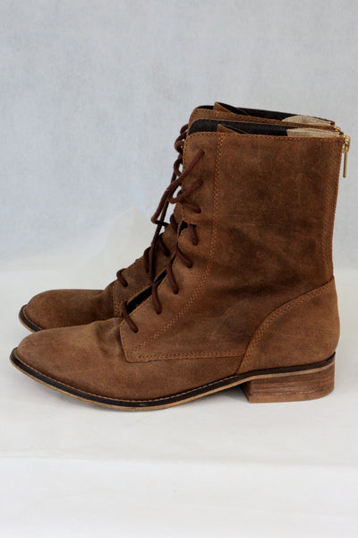 Akira brown ankle or mid calf lace-up boots, side view