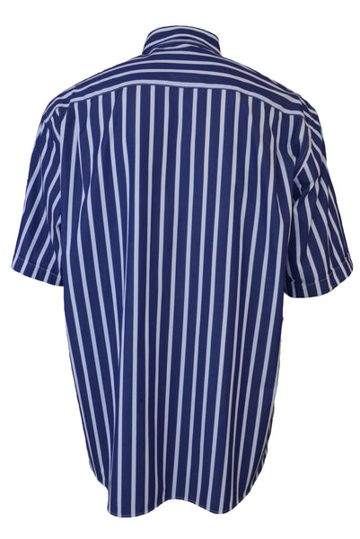 Paul & Shark men's blue striped short-sleeve shirt, back view