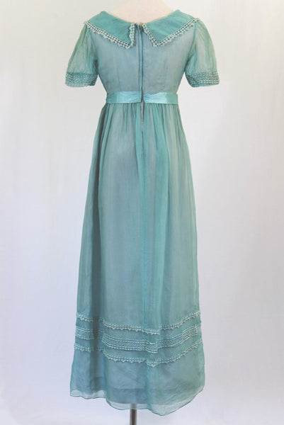 Pale Blue Lined Jeanne de Campo Vintage Gown - back