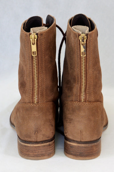 Akira brown ankle or mid calf lace-up boots with zips at back