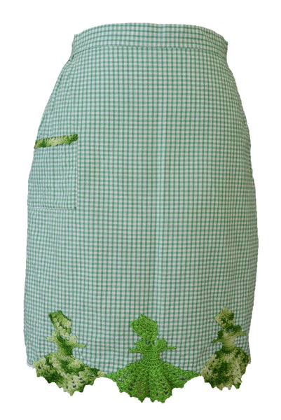 Vintage apron, green gingham and embroidery