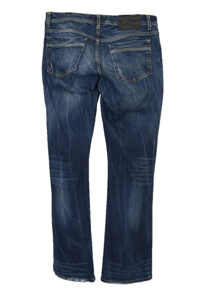 LTB women's preloved blue denim jeans, regular rise, boot cut, back view