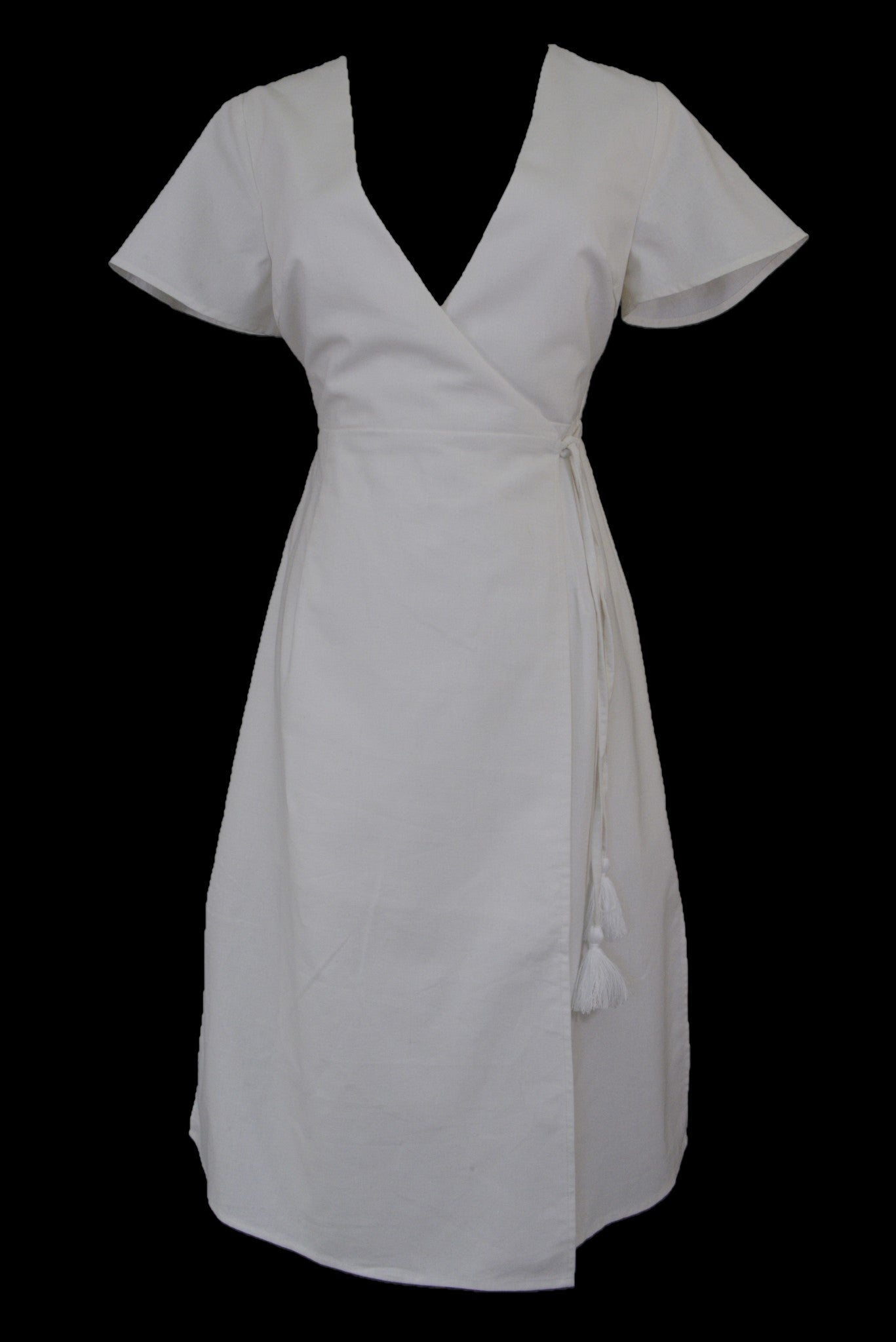 Atmos & Here white linen wrap dress with short sleeves