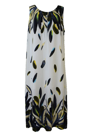 Autograph maxi dress with feather pattern, front view