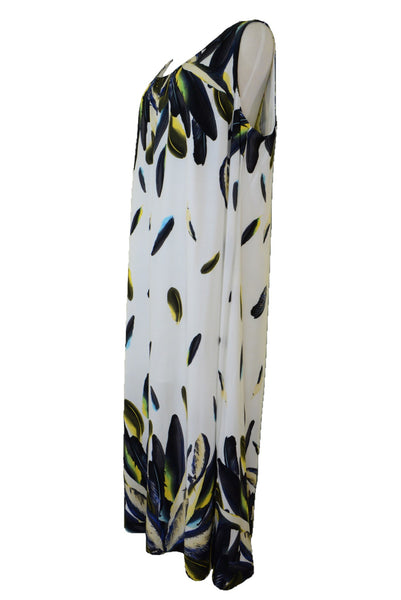 Autograph maxi dress with feather pattern, side view