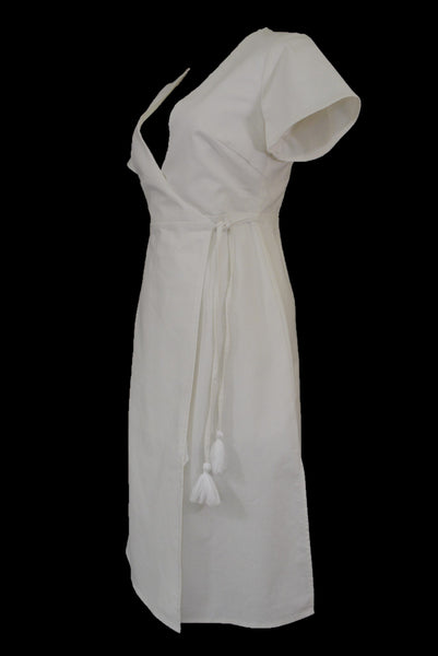Atmos & Here white linen wrap dress with side tie