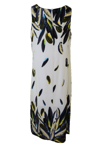 Autograph maxi dress with feather pattern, back view