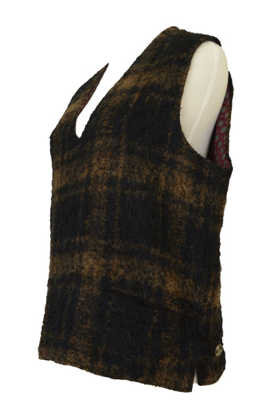 Vintage wool vest, brown, side view