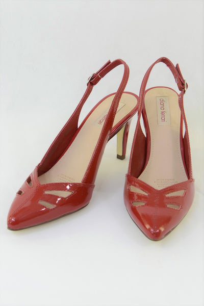 Diana Ferrari red high heel shoes, slingback.