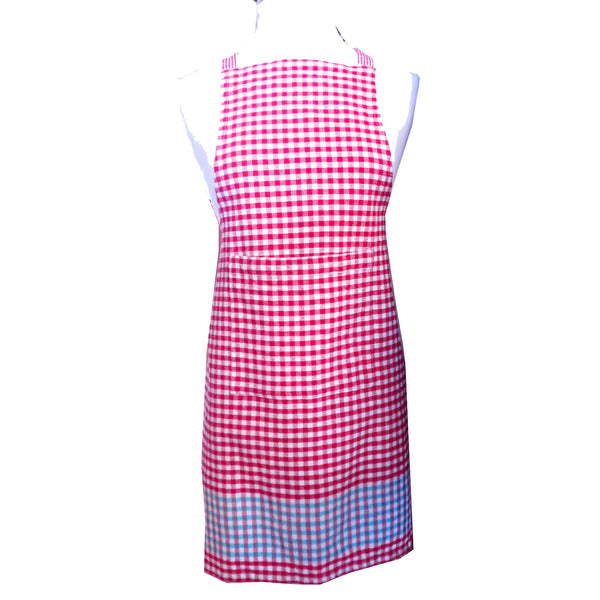 Cotton gingham apron, front view