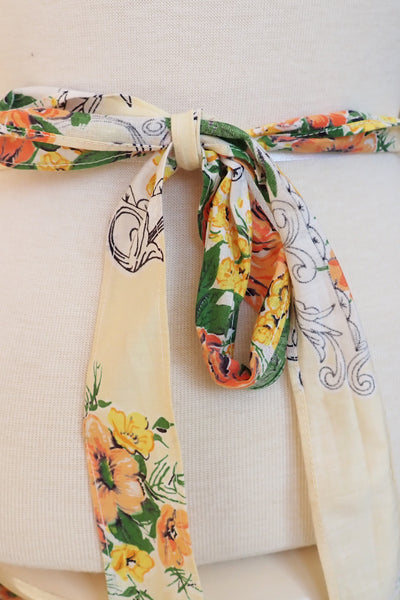 vintage apron showing tie-up