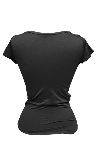 Black scoop-neck stretchy T-shirt back