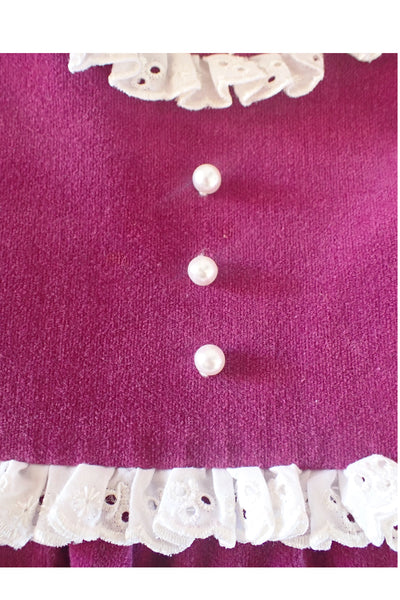 Girl's Handmade Vintage Smock Dress - buttons and broderie anglaise