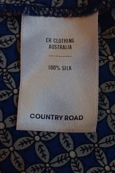Country Road Preloved 100% Silk Top fabric tag