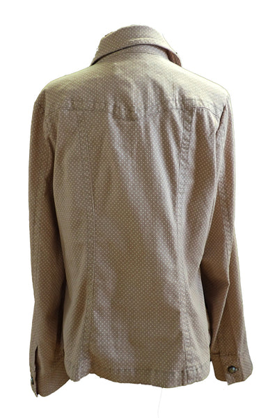 Live A Little Spotted Tan Denim Jacket - Size XL