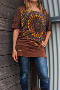 Desigual patterned brown top on model