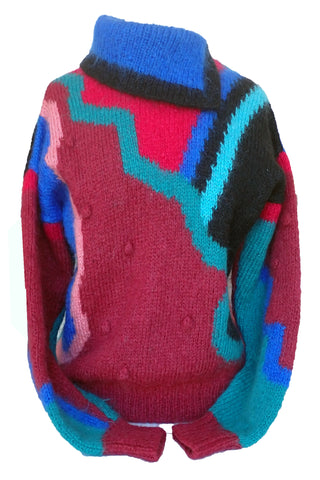 Hand-knitted 80s wool sweater - front