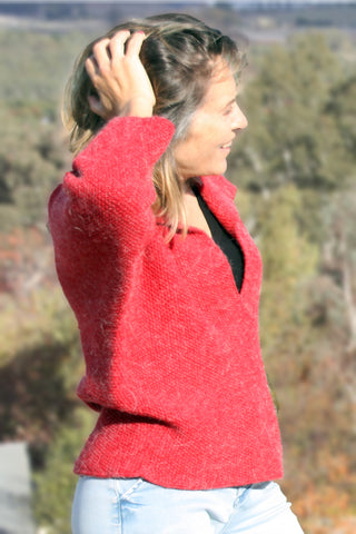 Vintage cherry-red hand-knitted jumper - on model