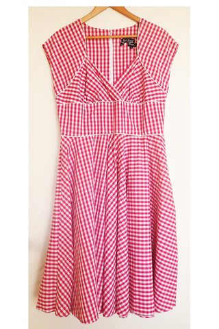 Hell Bunny Vixen 1950s style check dress front
