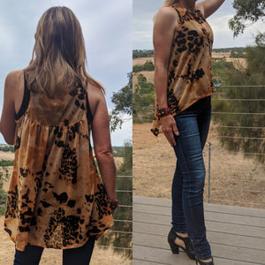 Sportsgirl animal print top, size S, on model