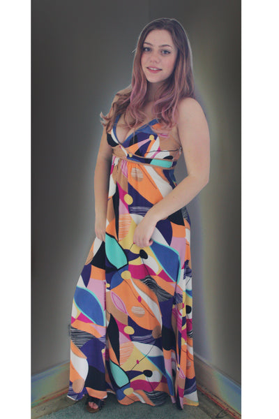 Bluejuice silk maxi dress on model