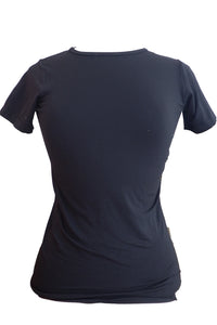 Laura Ashley round-necked nylon-elastane black T-shirt front