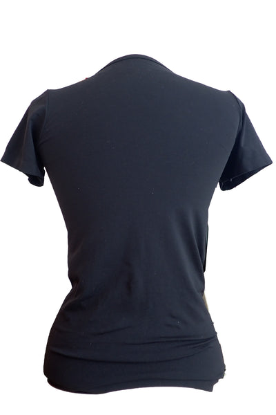 Laura Ashley round-necked nylon-elastane black T-shirt back