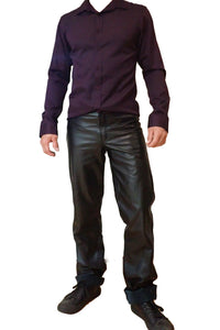 Adom of London black leather pants front view