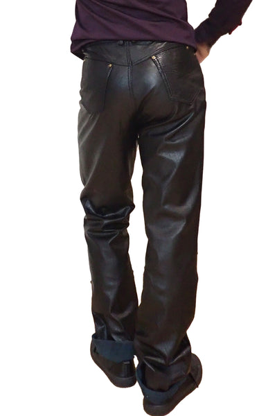 Adom of London black leather pants side view