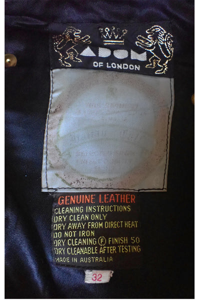 Adom of London black leather pants label