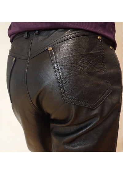 Adom of London black leather pants close-up of back pocket