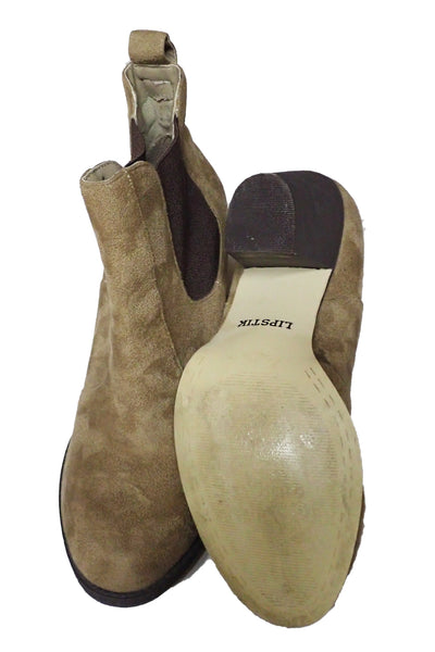 Lipstik Magik non-leather elastic-sided boots showing condition of sole
