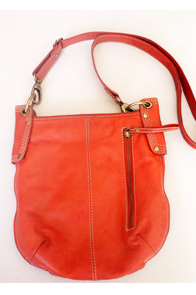 Brick-red Manzoni leather shoulder bag