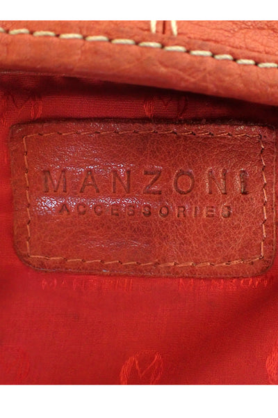 Brick-red Manzoni leather shoulder bag stamp
