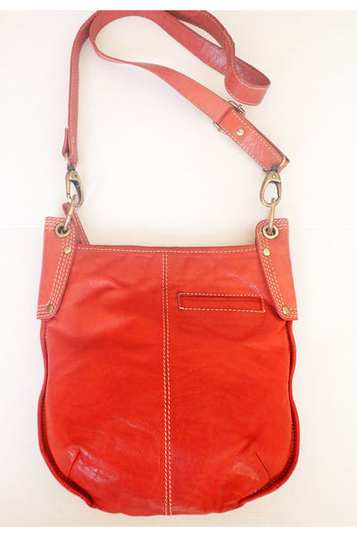 Brick-red Manzoni leather shoulder bag reverse side