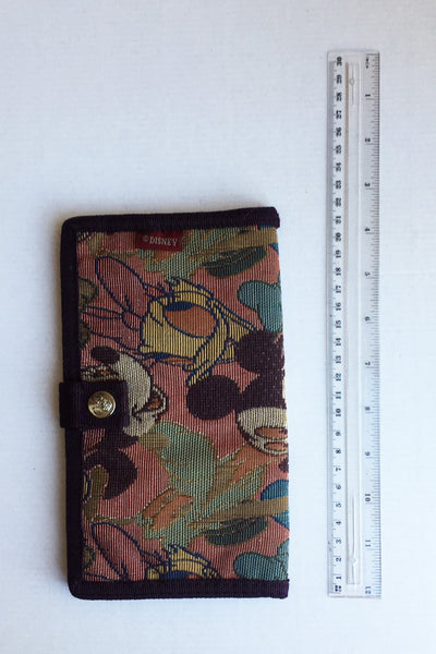 Large fabric wallet by Disney, labelled 'Mickey & Co.', showing ruler for scale